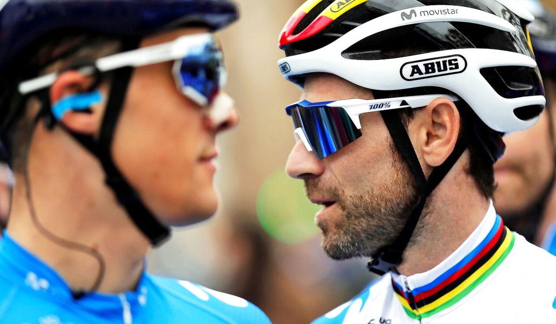 Alejandro Valverde (th.) har været i aktion i denne sæson, her ved onsdagens første etape af Volta a la Comunidad Valenciana.