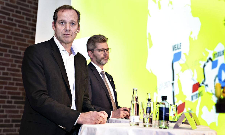 Christian Prudhomme (tv.) var forleden i Danmark i forbindelse med præsentationen af de præcise ruter for de danske etaper i Tour de France næste år. Her sammen med Københavns overborgmester Frank Jensen (S).