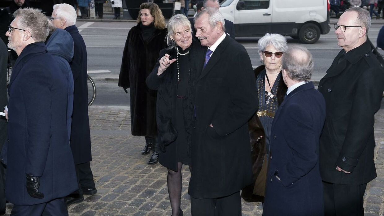 Jacob og Patricia Asbæk ankommer til Castrum Doloris for særligt indbudte i Christiansborg Slotskirke efter prins Henriks død. (Foto: Liselotte Sabroe/Scanpix 2018)