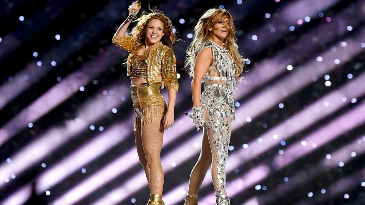 Shakira og Jennifer Lopez under årets Super Bowl.