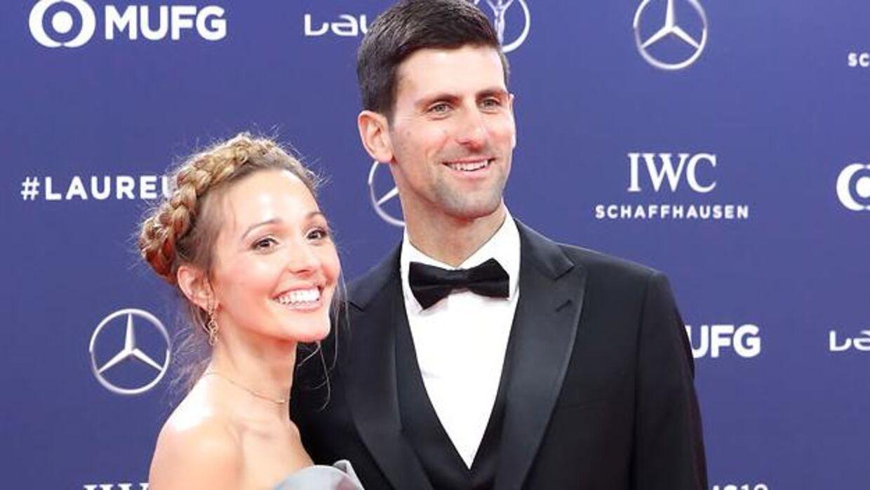 Novak Djokovic og konen Jelena.