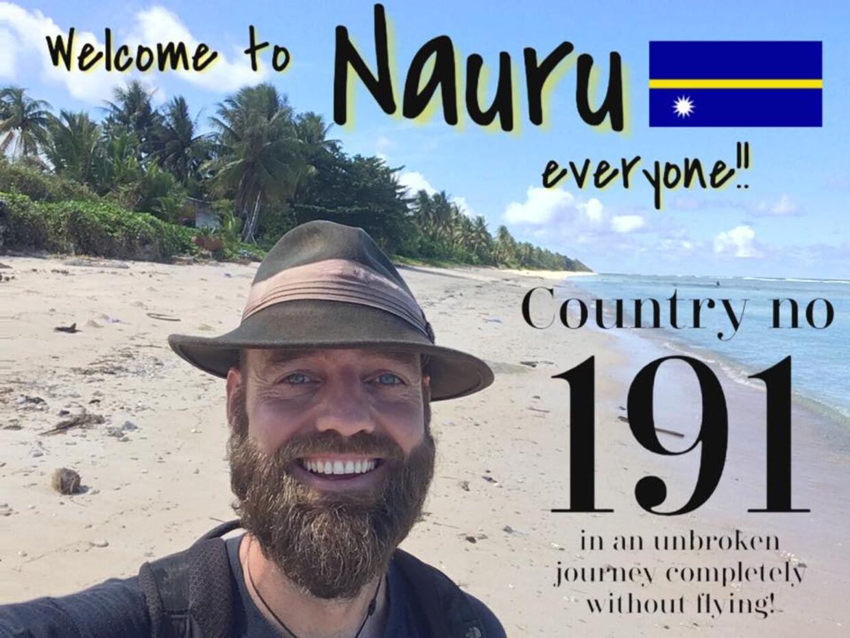 Et billede fra Torbjørns blog, da han kom til det 191. land, Nauru.
