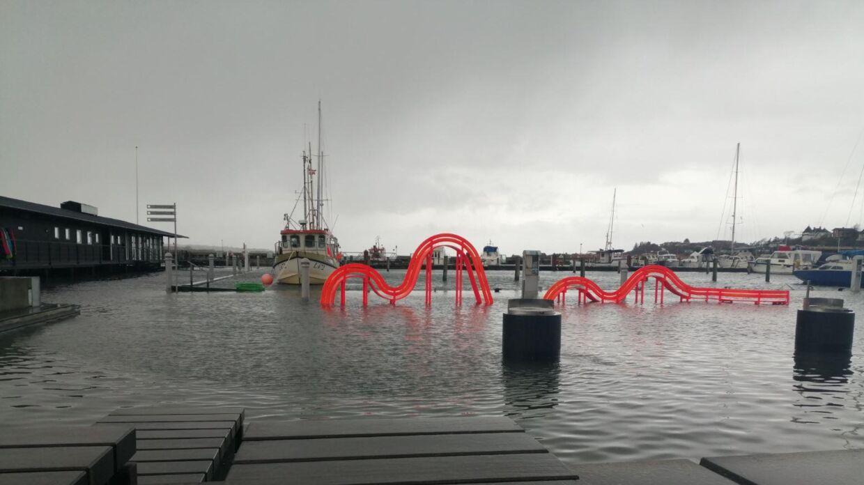 Havnen i Lemvig oversvømmet