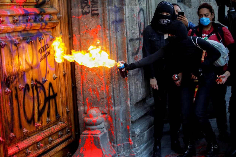 Demonstranter foran National Palace i Mexico City, der er hovedsædet for den føderale direktør i landet.