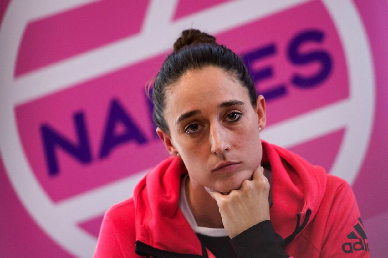 """Nantes Atlantique Handball women professional club's international player Camille Ayglon-Saurina attends a press conference, on February 14, 2020, in Nantes, on the day after the association of professional handball players (AJPH) denounced pregnancy tests performed """"without the consent of the players"""". - The pregnancy tests were legals and were not performed without the consent of the players, declared on February 14, 2020, the club's president Arnaud Ponroy, as well as several players. (Photo by Loic VENANCE / AFP)"""