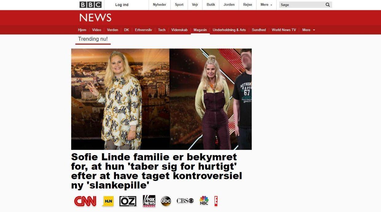 Sådan så en af reklamerne ud. Foruden Sofie Lindes navn blev også sangerinden Adeles og den britiske tv-læge Dr. Christians misbrugt i denne artikel.