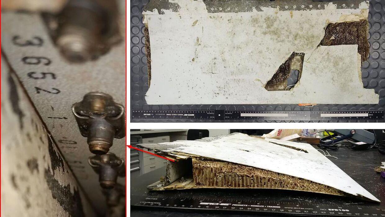 Nogle af de vragdele fra MH370 der er blevet fundet i årene efter flyets forsvinding.