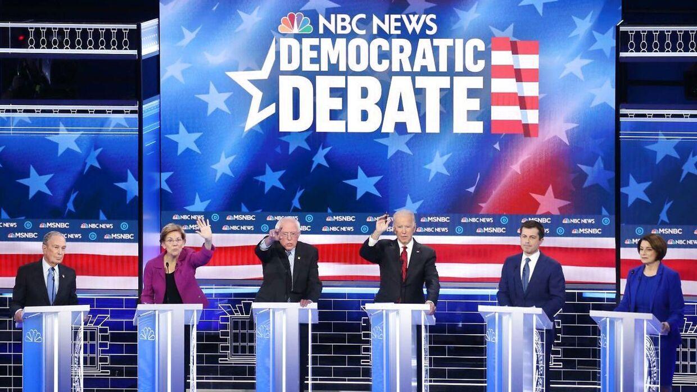 Sådan så det ud onsdag aften i Las Vegas, Nevada, da de seks Demokratiske præsidentkandidater satte hinanden stævne i den niende debat.