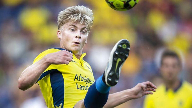 Brøndbys Tobias Børkeeiet i superligakampen mellem Brøndby-AGF på Brøndby Stadion, søndag den 25 august 2019