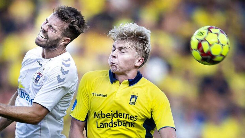 AGFs Patrick Mortensen og Brøndbys Tobias Børkeeiet under superligakampen mellem Brøndby-AGF på Brøndby Stadion, søndag den 25 august 2019. (Foto: Liselotte Sabroe/Ritzau Scanpix)