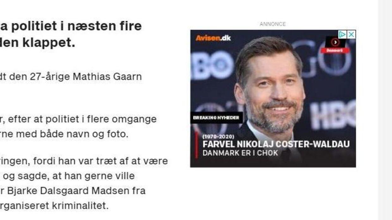 Screenshot af den falske annonce.