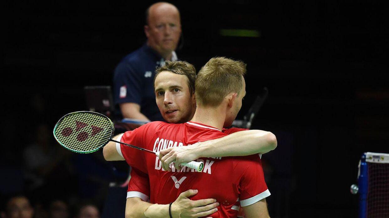 (ARKIV) Mads Conrad-Petersen og Mathias Boe fejrer en sejr i 2019.
