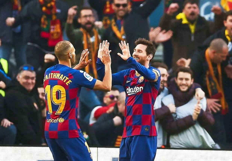Messis 4-0-scoring bliver officielt uden assist. Her takker han dog alligevel Martin Braithwaite for oplægget.