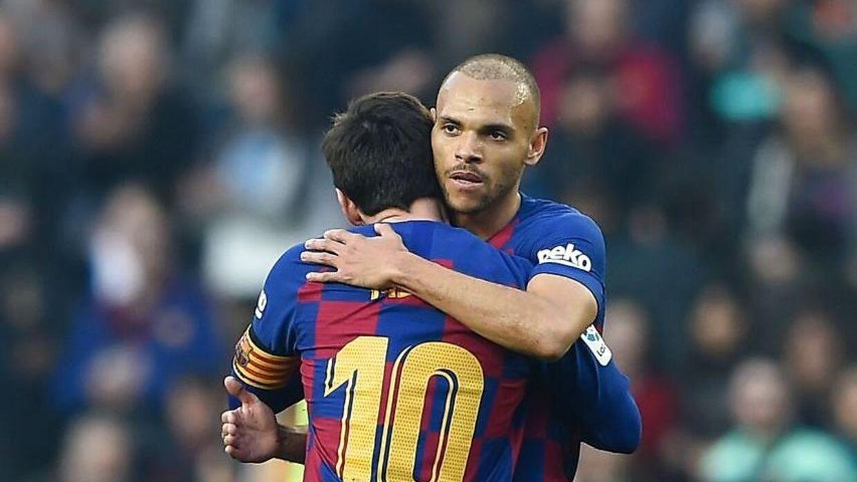 Martin Braithwaite var meget tæt på at få en assist, da Lionel Messi scorede til 4-0.
