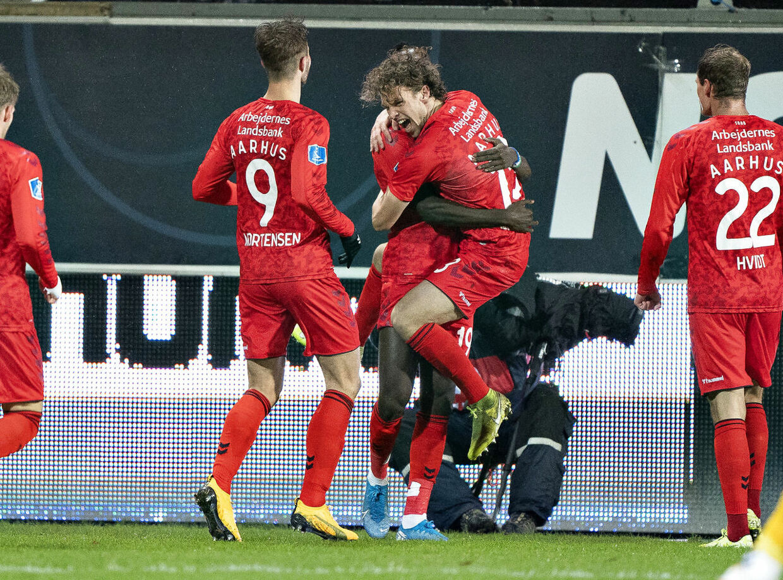 AGF's Patrick Mortensen har scoret til 1-0 i 3F Superligakampen AC Horsens mod AGF på Casa Arena i Horsens, mandag 24. fewbruar 2020.. (Foto: Henning Bagger/Ritzau Scanpix)