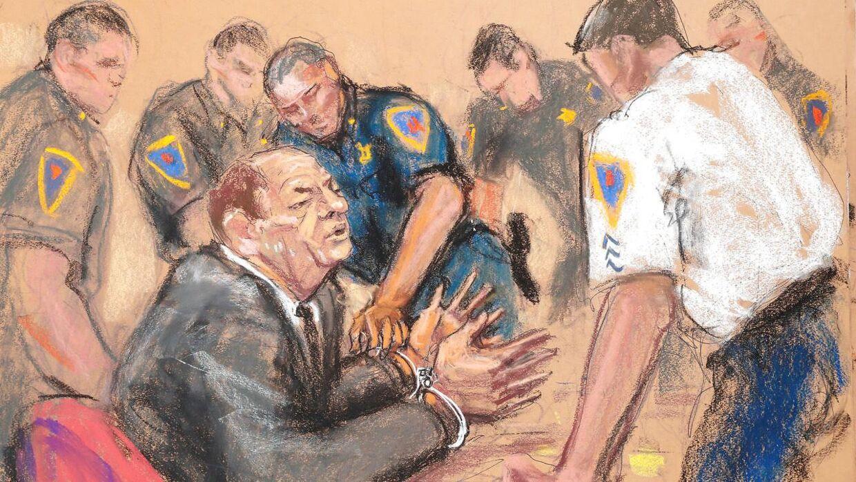 Harvey Weinstein får håndjern på efter dommen mandag.