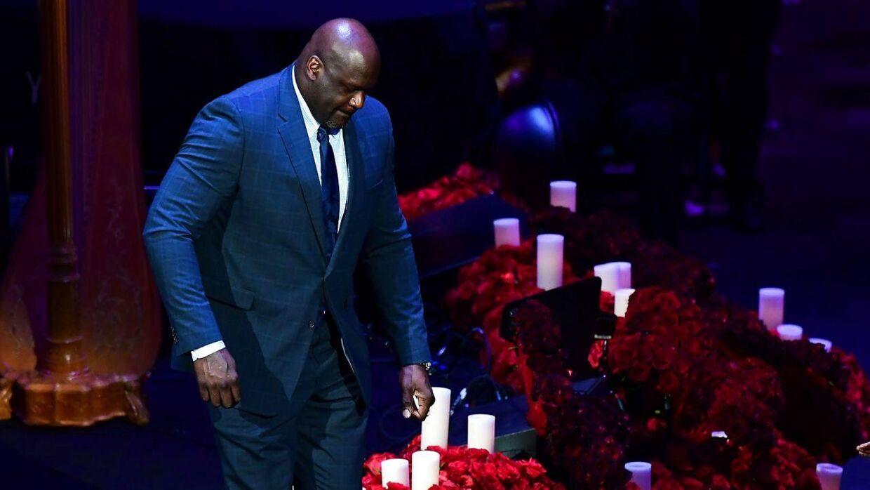 Shaquille O'Neal var også på talerstolen mandag i Staples Center, der er Los Angeles Lakers hjemmebane.