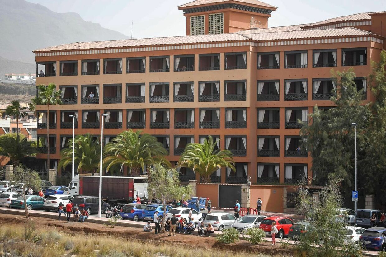 General view taken on February 25, 2020 of the H10 Costa Adeje Palace Hotel in La Caleta, where hundreds of people were confined to their rooms after an Italian tourist was hospitalised with a suspected case of coronavirus. - Tourists staying in a four-star hotel on the Spanish island of Tenerife, in the Canary archipielago, were confined to their rooms today following the announcement of a suspected novel coronavirus, COVID-19, case waiting for official confirmation. This possible case was detected yesterday in Tenerife, where an Italian national passed a first test which turned out to be positive, announced the Spanish Ministry of Health. (Photo by DESIREE MARTIN / AFP)