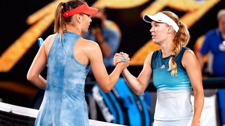 Maria Sharapova og Caroline Wozniacki.