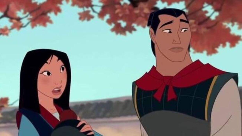 Her Mulan og Li Shang sammen i den animerede udgave af 'Mulan' fra 1998.