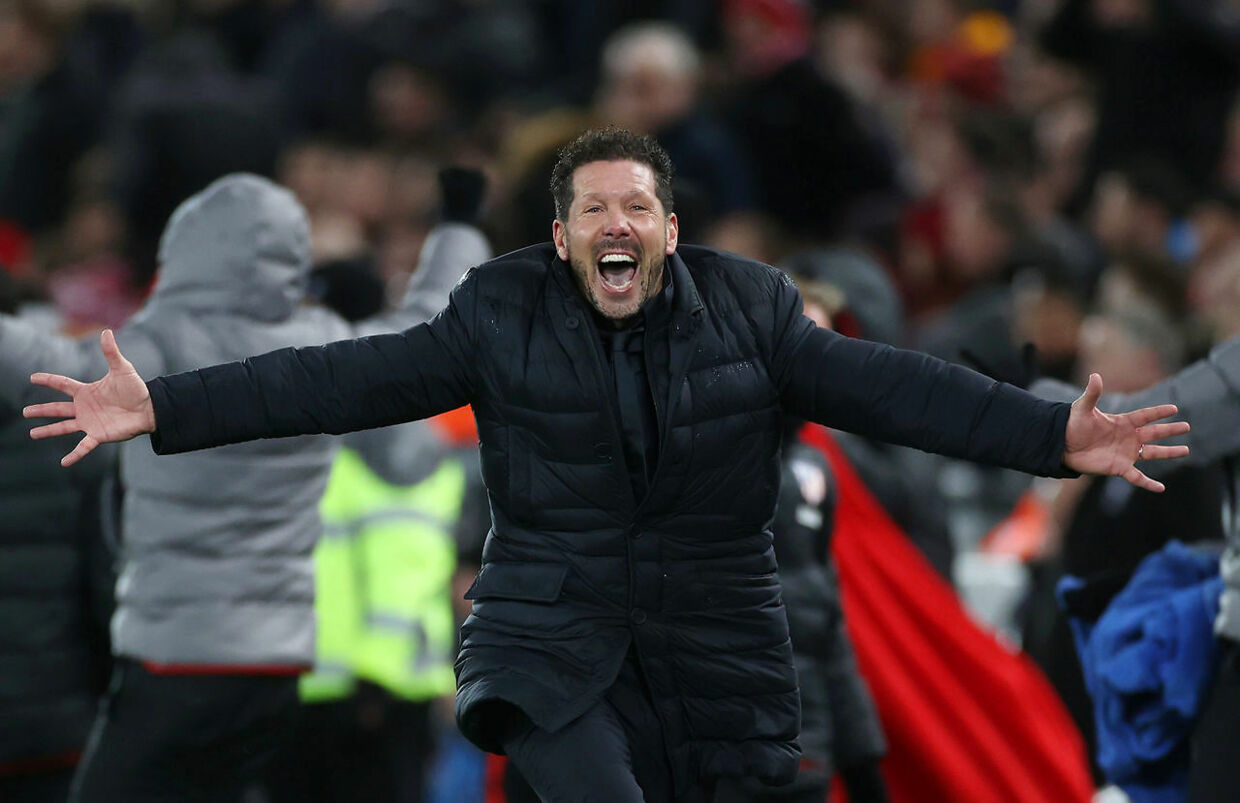 Soccer Football - Champions League - Round of 16 Second Leg - Liverpool v Atletico Madrid - Anfield, Liverpool, Britain - March 11, 2020 Atletico Madrid coach Diego Simeone celebrates their second goal Action Images via Reuters/Carl Recine