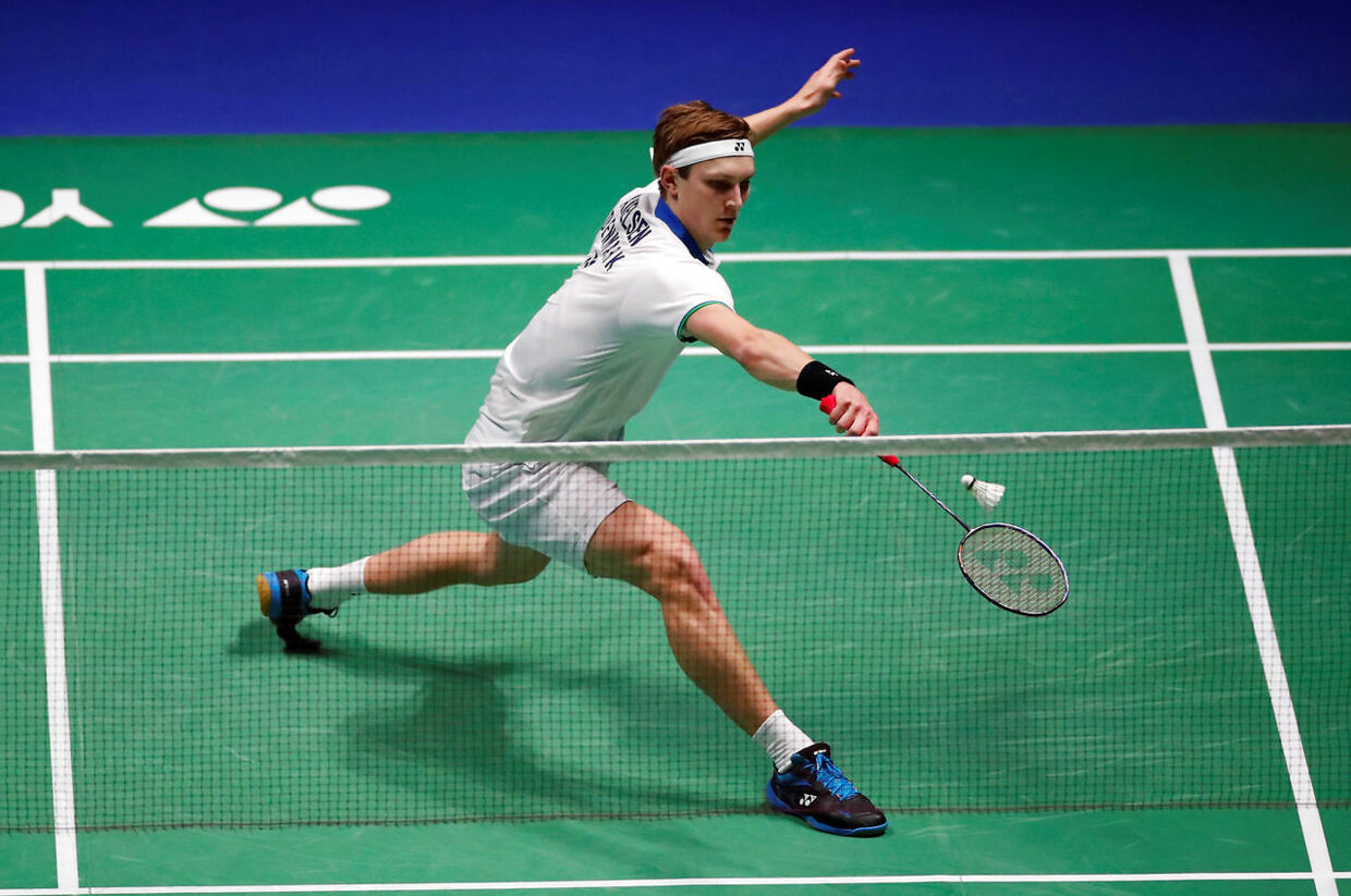 Badminton - All England Open Badminton Championships - Arena Birmingham, Birmingham, Britain - March 15, 2020 Denmark's Viktor Axelsen in action during the men's singles final match against Taiwan's Chou Tien-chen Action Images via Reuters/Andrew Boyers