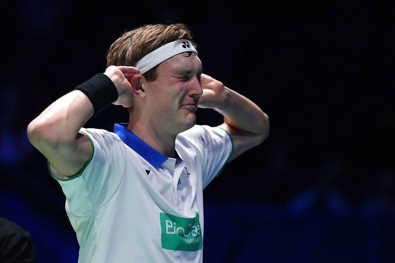 Sådan reagerede Viktor Axelsen, efter han søndag havde vundet All England-finalen i herresingle.