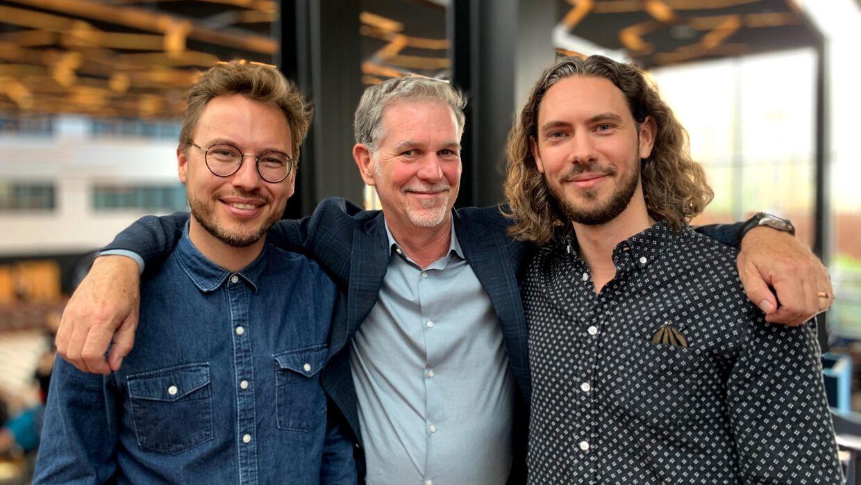 Reed Hastings, grundlæggeren og øverste chef for Netflix sammen med Kasper Lundberg og Frederik Dirks Gotlieb