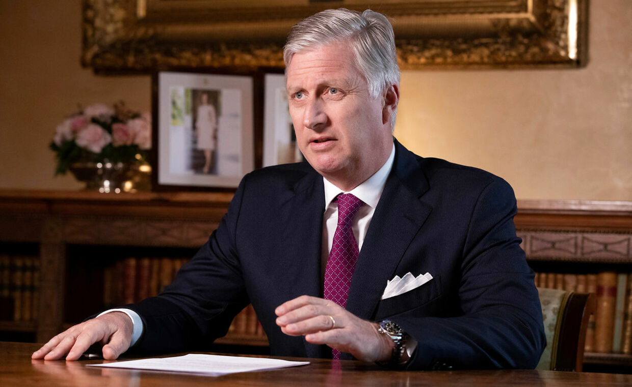 Belgium's King Philippe addresses Belgian citizens on the coronavirus?disease (COVID-19) crisis during a televised statement in Brussels, Belgium, March 16, 2020. ?Benoit Doppagne/Pool via REUTERS
