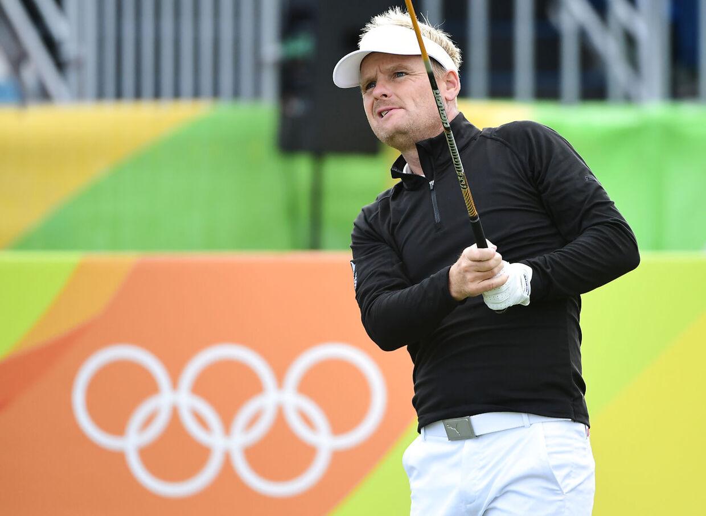 Golfspilleren Søren Kjeldsen i aktion ved OL 2016 i Rio de Janeiro.