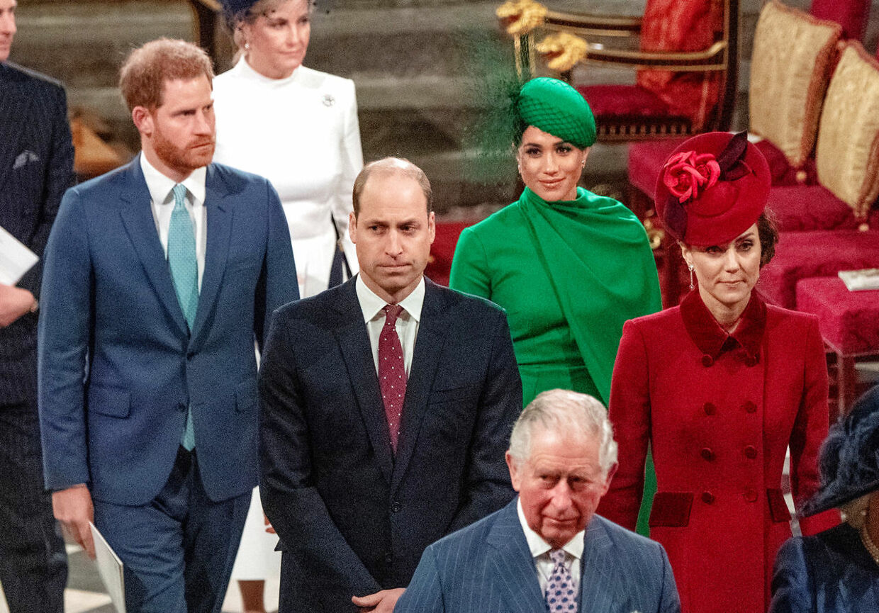 FILE PHOTO: Britain's Prince Charles, Prince William and Catherine, Duchess of Cambridge, Prince Harry and Meghan, Duchess of Sussex attend the annual Commonwealth Service at Westminster Abbey in London, Britain March 9, 2020. Phil Harris/Pool via REUTERS/File Photo