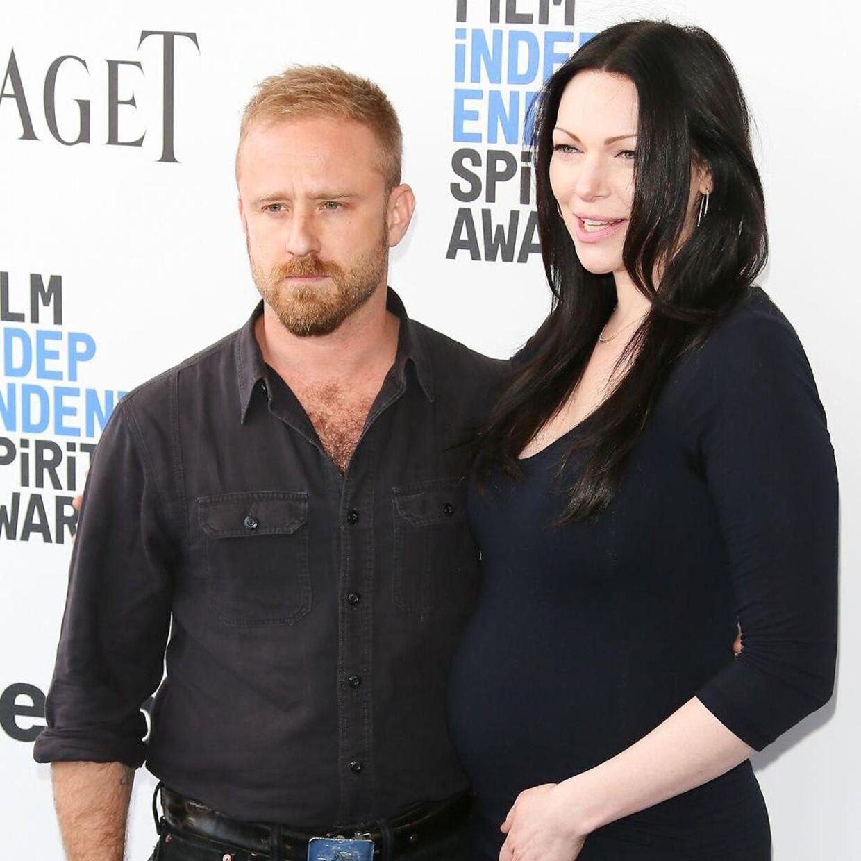 Laura Prepon og hendes mand Ben Foster, da parret ventede deres første barn.