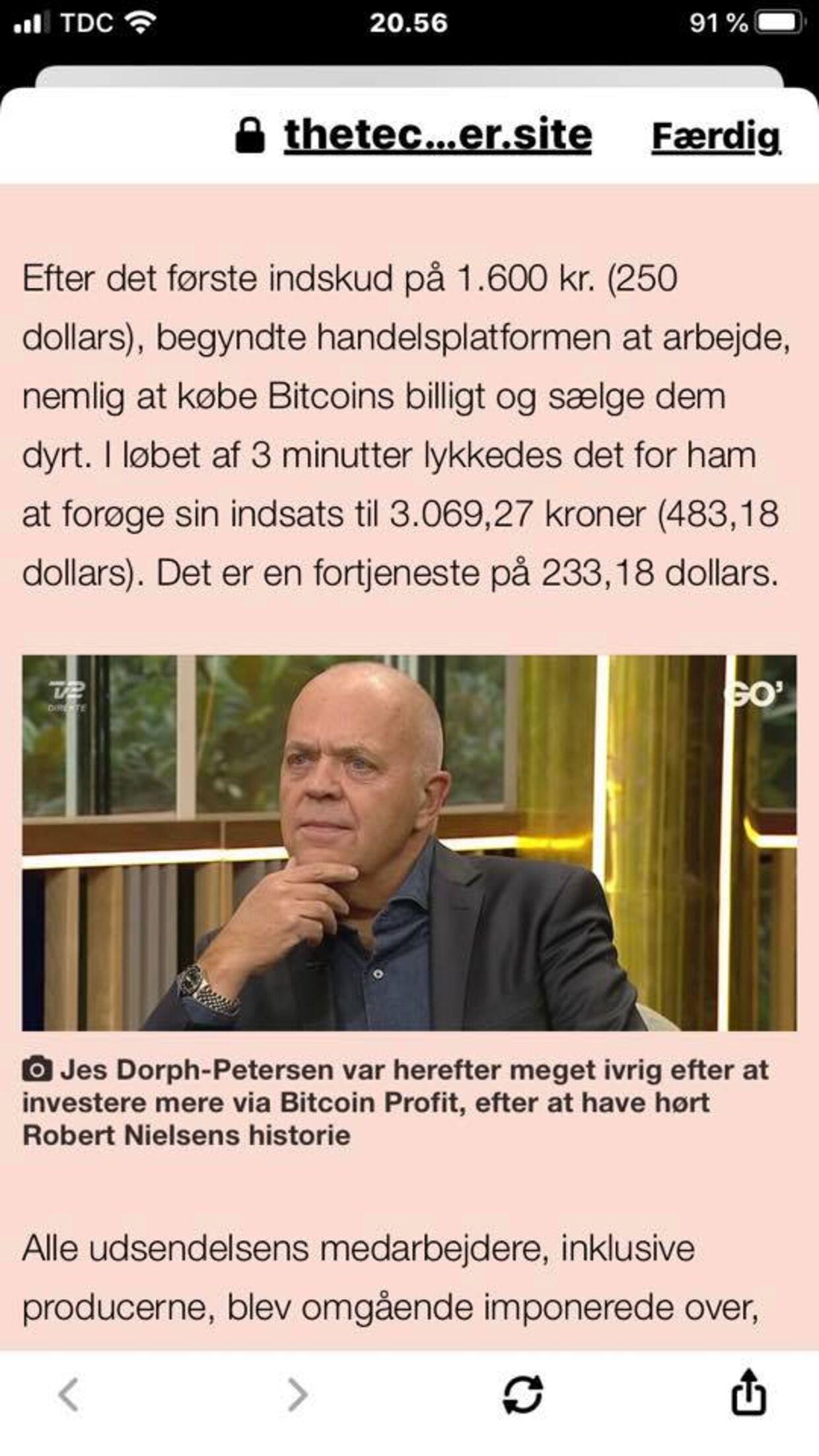 Et eksempel på en af de falske artikler, som svindlere bruger til at narre penge fra folk.