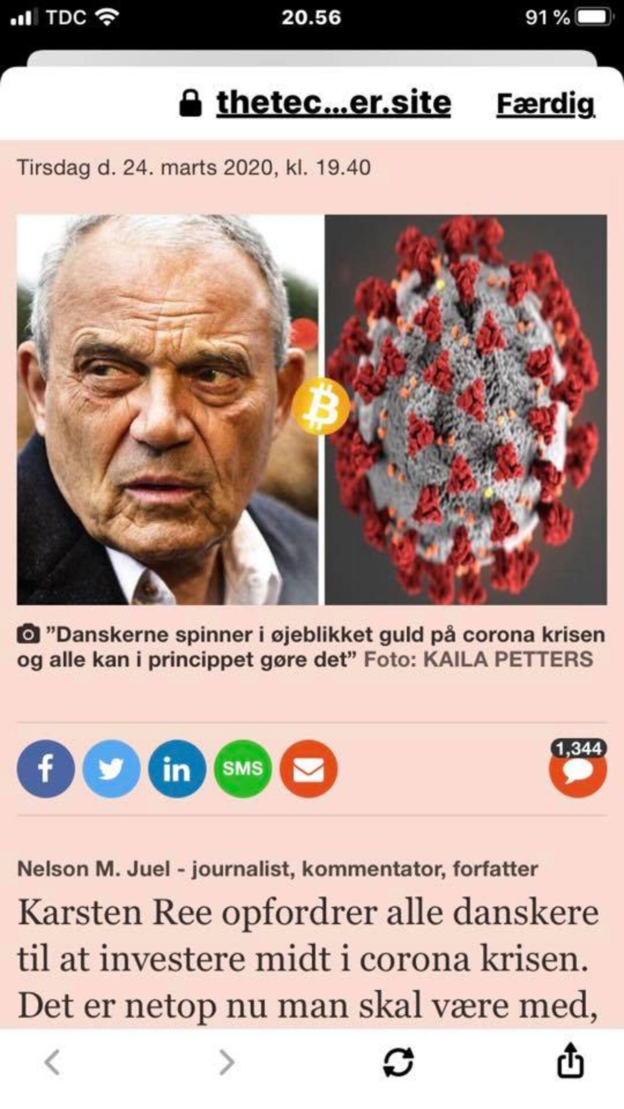 Også den danske rigmand Karsten Ree misbruges til fup og svindel. Bemærk at svindlerne nævner coronakrisen.