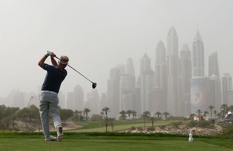 Søren Kjeldsen i aktion ved Dubai Desert Classic i januar i år.