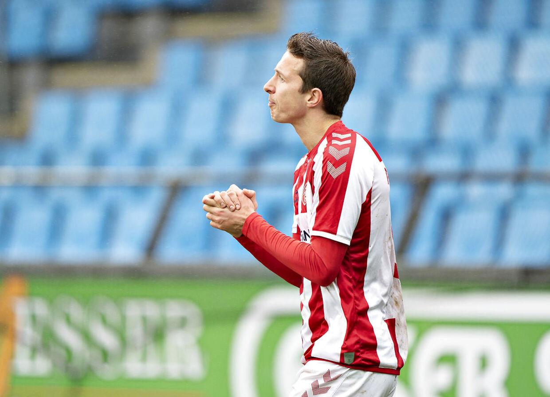 AaB's Jakob Ahlmann i 3F Superligakampen mellem Aab og Lyngby Boldblub på Aalborg Portland Park, søndag 8. marts 2020.. (Foto: Henning Bagger/Ritzau Scanpix)