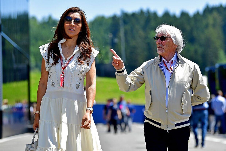 Bernie Ecclestone med sin hustru Fabiana Flosi, som er 45 år yngre end ham selv.