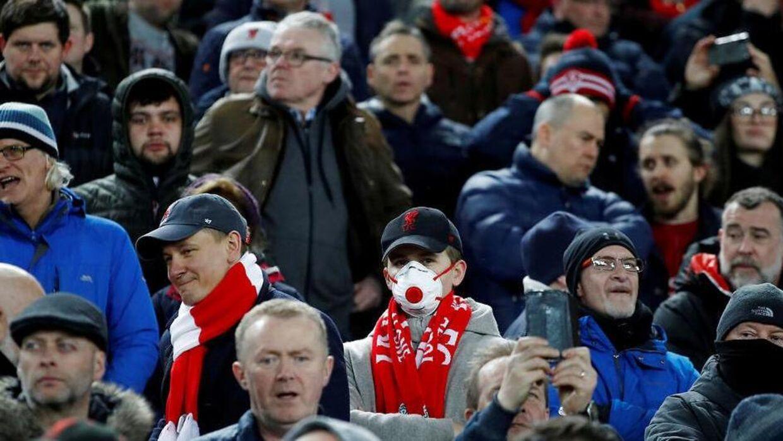 Scener fra tilskuerrækkerne i Champions League-kampen mellem Liverpool og Atlético Madrid på Anfield.