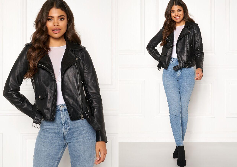 Nandita Leather Jacket Black fra OBJECT på Bubbleroom.dk