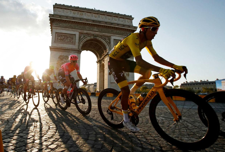 Egan Bernal (forrest) vandt Touren sidste år.