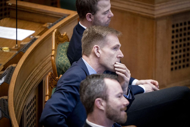 Dansk Folkepartis Kristian Thulesen Dahl, Venstres Jakob Ellemann-Jensen og De Radikales Morten Østergaard under møde i folketingssalen 21. januar 2020. (Foto: Liselotte Sabroe/Ritzau Scanpix)