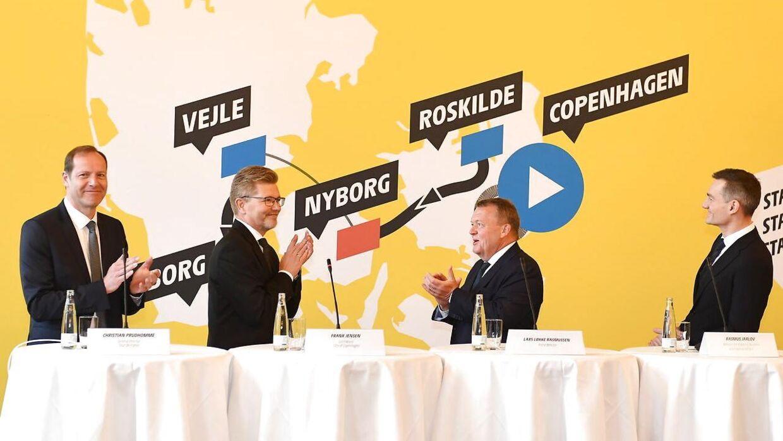 Det var med store smil, da Tour de France i Danmark blev annonceret. Daværende statsminister Lars Løkke Rasmussen, Københavns overborgmester Frank Jensen og daværende erhvervsminister Rasmus Jarlov holdt pressemøde på Københavns Rådhus i februar 2019.