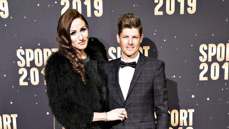Jakob Fuglsang og Loulou Fuglsang på den røde løber før DRs Sport 2019 show i Jyske Bank Boxen i Herning lørdag den 4. januar 2020.