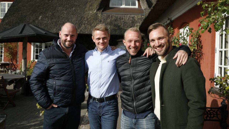 De fire sønderjyske singlemænd - fra venstre - Thomas, Henrik, Calle og Søren Ole fra 'Kærlighed hvor kragerne vender'.