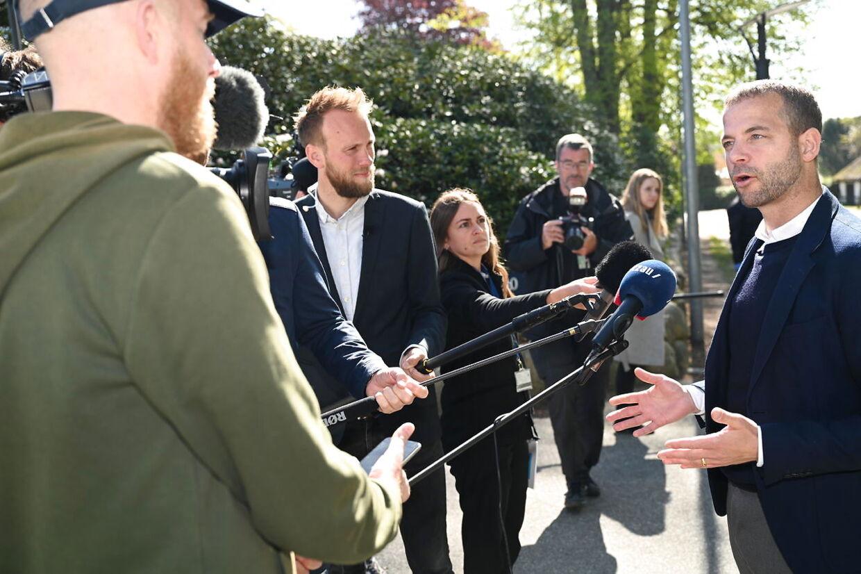 Morten Østergaard ved sidste uges forhandlinger på Marienborg. (Foto: Philip Davali/Scanpix 2020)