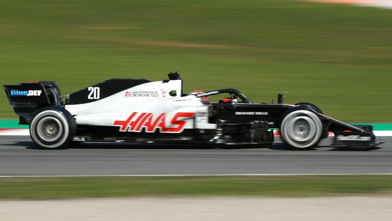 Kevin Magnussen i Haas' 2020-racer.