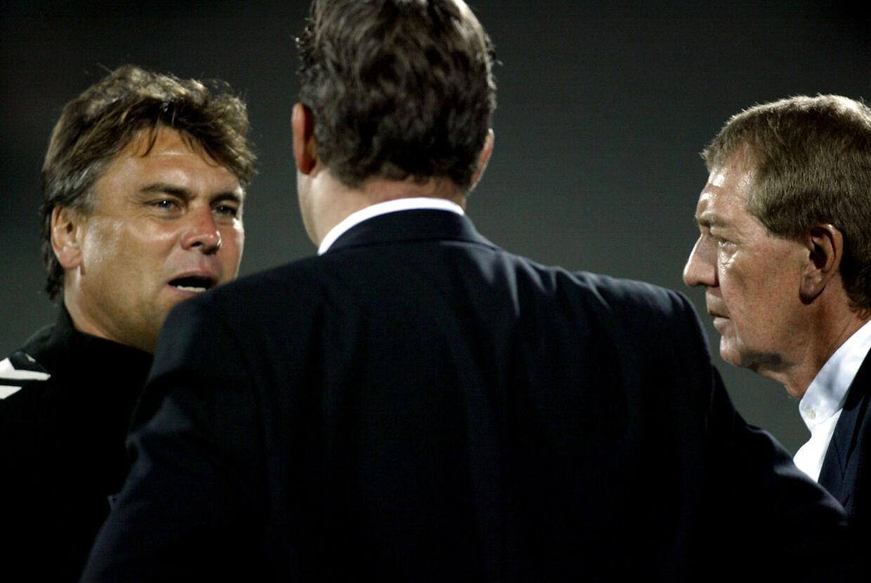 AGFs tidligere ejer Kurt Andersen i samtale med Frank Hestkjær og Poul Hansen
