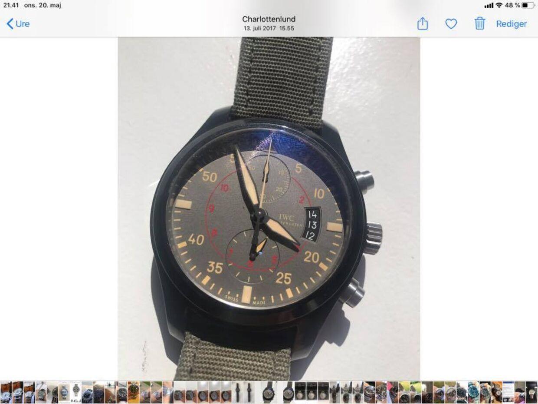 Det ene ur, som Niels Pinborg har fået stjålet. Et IWC TopGun Miramar, Pilots Watch.