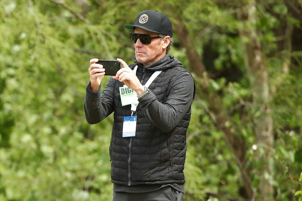 AUSTIN, TEXAS - MARCH 31: Lance Armstrong looks on during the final round of the World Golf Championships-Dell Technologies Match Play at Austin Country Club on March 31, 2019 in Austin, Texas. Ezra Shaw/Getty Images/AFP == FOR NEWSPAPERS, INTERNET, TELCOS & TELEVISION USE ONLY ==