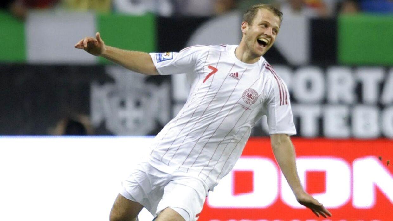 Daniel Jensen i ekstase efter sin overtidsscoring mod Portugal i 2008.